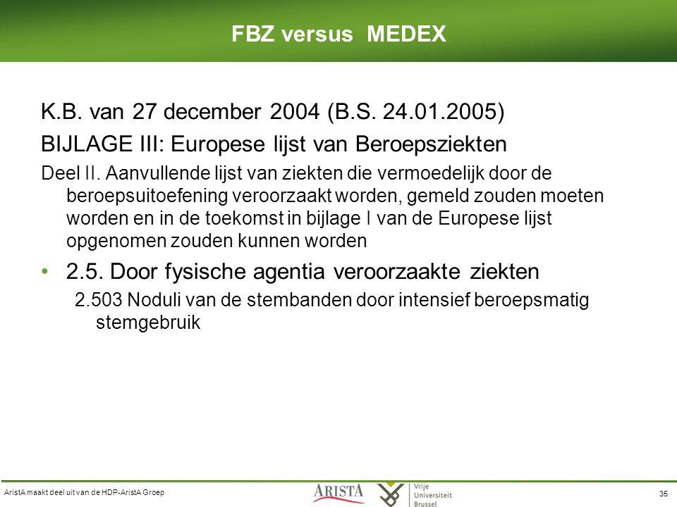 AristA maakt deel uit van de HDP-AristA Groep 35 FBZ versus MEDEX K.B.