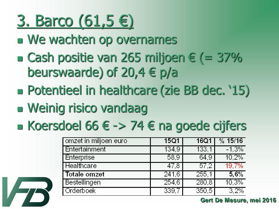 3. Barco (61,5 €) We wachten op overnames We wachten op overnames Cash positie van 265 miljoen € (= 37% beurswaarde) of 20,4 € p/a Cash positie van 26