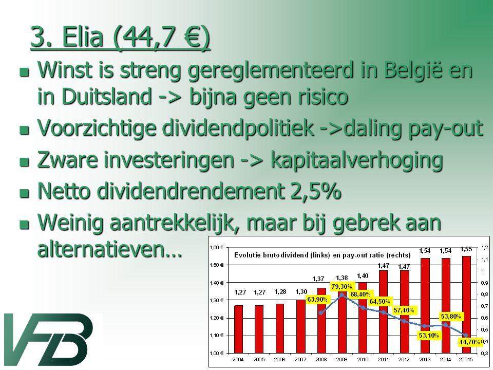 3. Elia (44,7 €) Winst is streng gereglementeerd in België en in Duitsland -> bijna geen risico Winst is streng gereglementeerd in België en in Duitsl