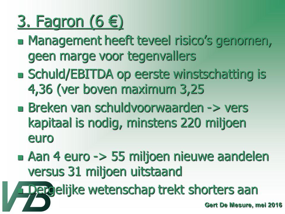 3. Fagron (6 €) Management heeft teveel risico's genomen, geen marge voor tegenvallers Management heeft teveel risico's genomen, geen marge voor tegen