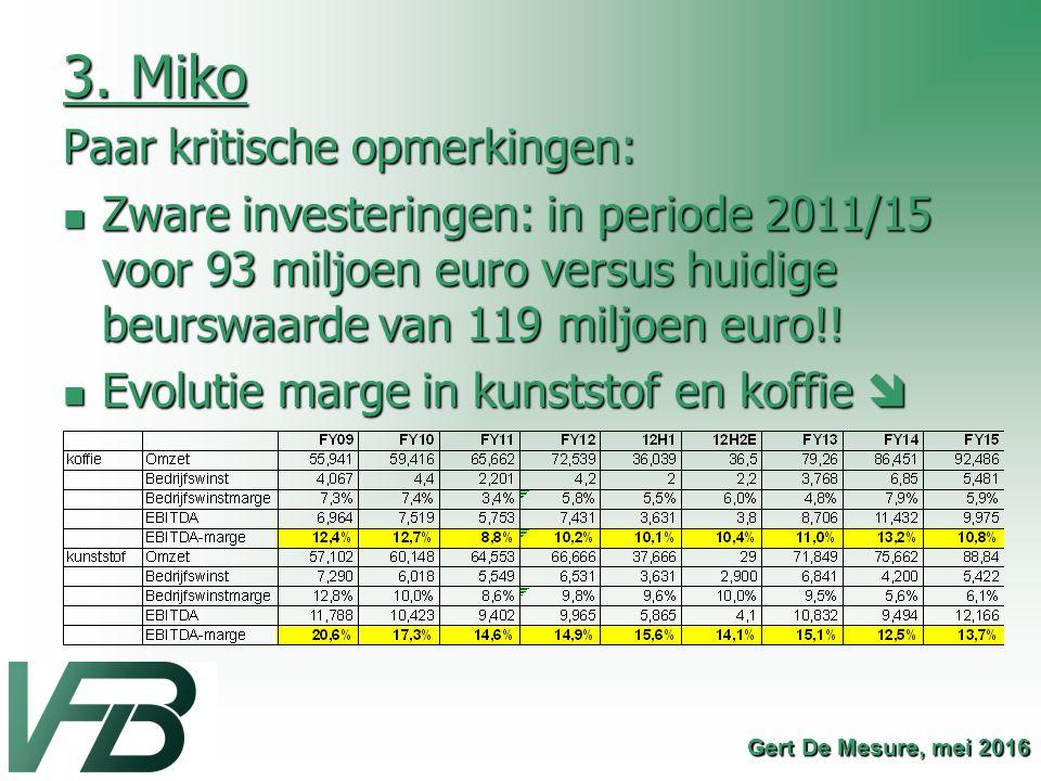 3. Miko Paar kritische opmerkingen: Zware investeringen: in periode 2011/15 voor 93 miljoen euro versus huidige beurswaarde van 119 miljoen euro!! Zwa