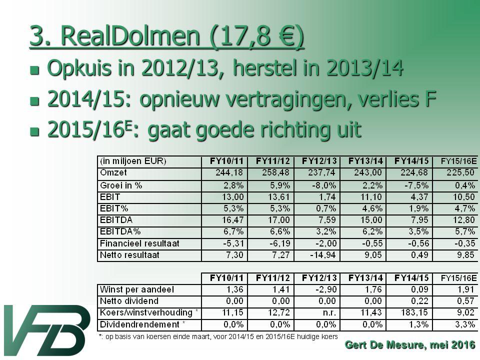 3. RealDolmen (17,8 €) Opkuis in 2012/13, herstel in 2013/14 Opkuis in 2012/13, herstel in 2013/14 2014/15: opnieuw vertragingen, verlies F 2014/15: o