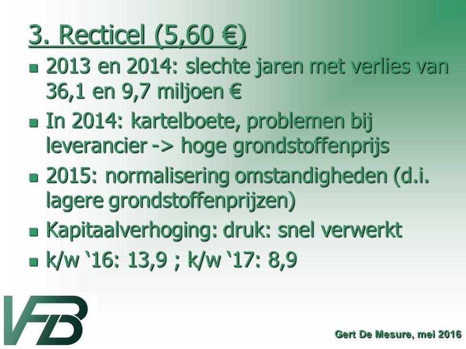 3. Recticel (5,60 €) 2013 en 2014: slechte jaren met verlies van 36,1 en 9,7 miljoen € 2013 en 2014: slechte jaren met verlies van 36,1 en 9,7 miljoen