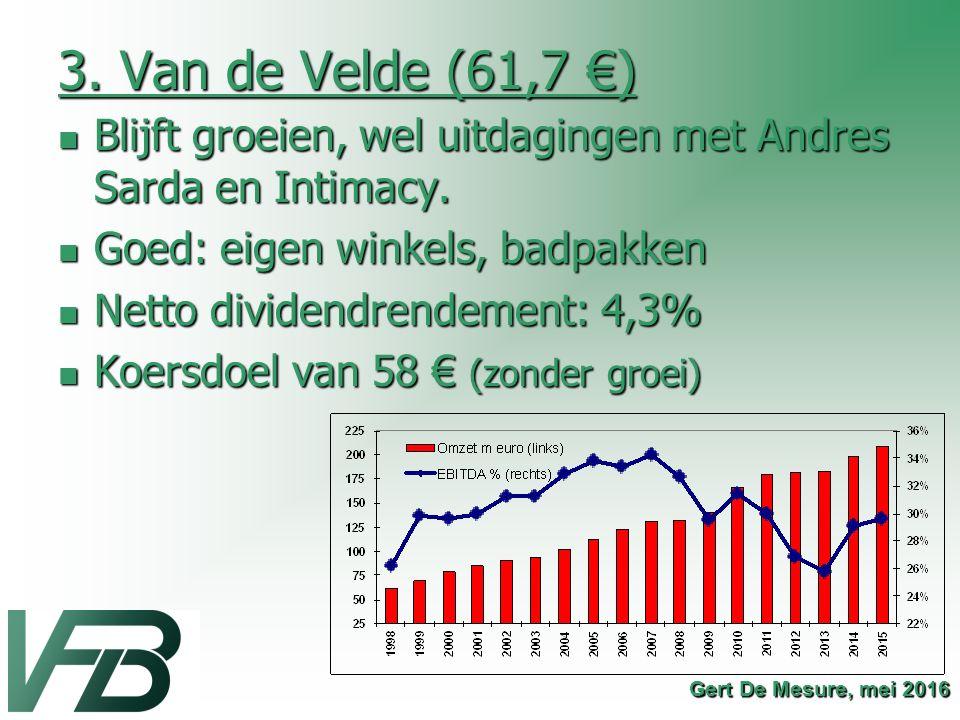 3. Van de Velde (61,7 €) Blijft groeien, wel uitdagingen met Andres Sarda en Intimacy. Blijft groeien, wel uitdagingen met Andres Sarda en Intimacy. G