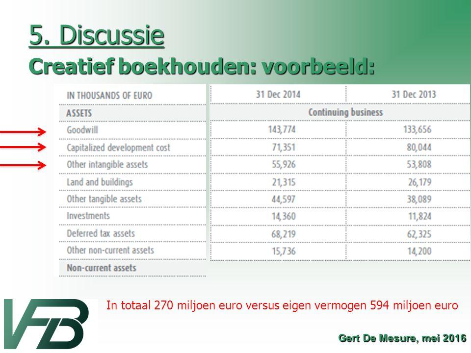 5. Discussie Creatief boekhouden: voorbeeld: Gert De Mesure, mei 2016 In totaal 270 miljoen euro versus eigen vermogen 594 miljoen euro