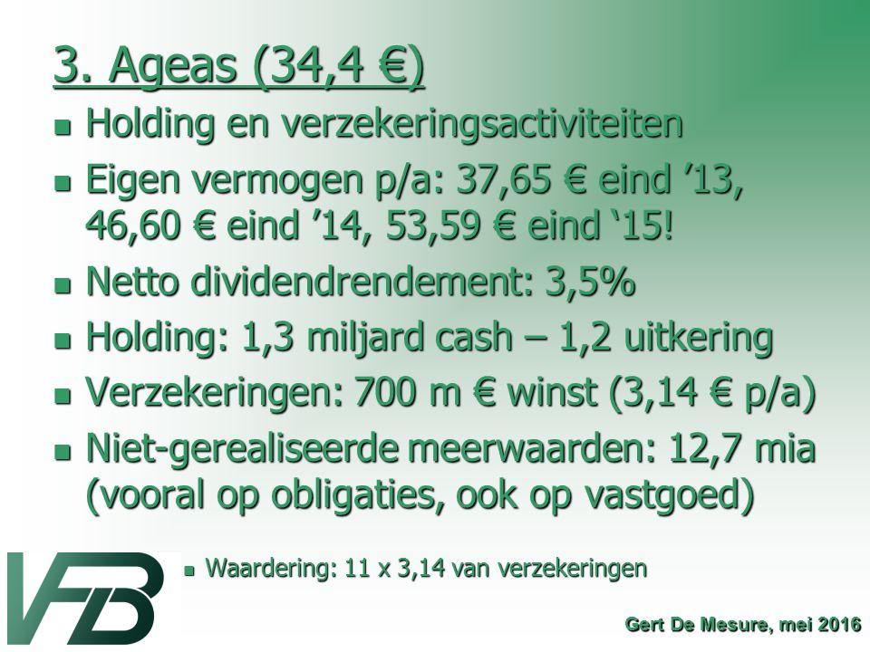 3. Ageas (34,4 €) Holding en verzekeringsactiviteiten Holding en verzekeringsactiviteiten Eigen vermogen p/a: 37,65 € eind '13, 46,60 € eind '14, 53,5