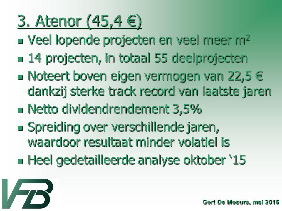 3. Atenor (45,4 €) Veel lopende projecten en veel meer m 2 Veel lopende projecten en veel meer m 2 14 projecten, in totaal 55 deelprojecten 14 project