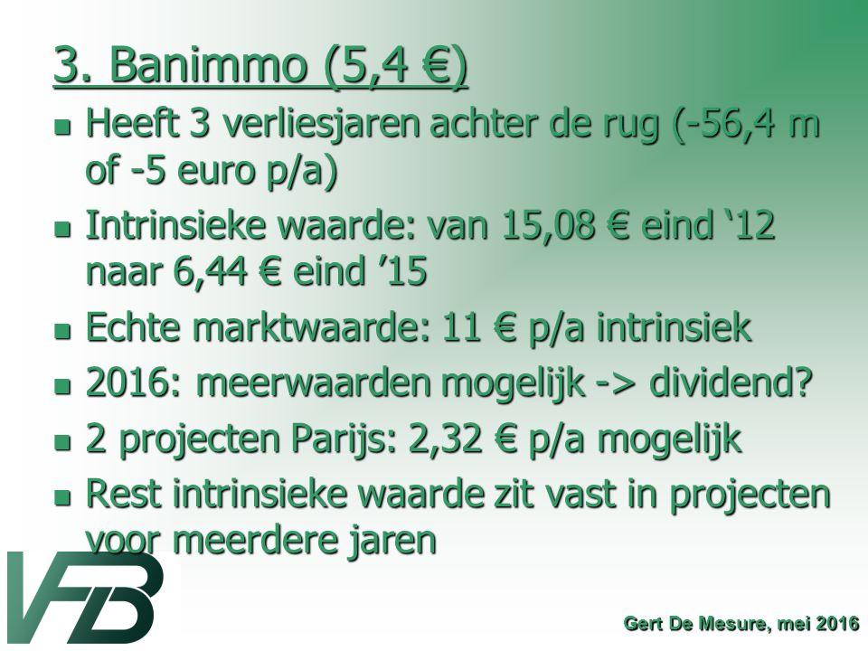 3. Banimmo (5,4 €) Heeft 3 verliesjaren achter de rug (-56,4 m of -5 euro p/a) Heeft 3 verliesjaren achter de rug (-56,4 m of -5 euro p/a) Intrinsieke