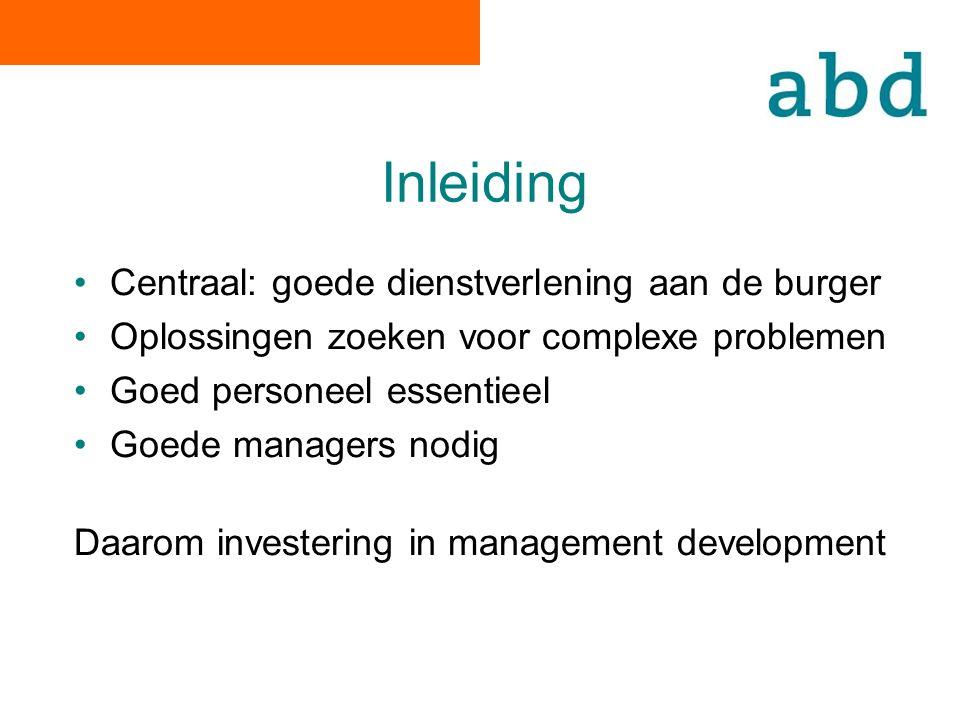 Inleiding Centraal: goede dienstverlening aan de burger Oplossingen zoeken voor complexe problemen Goed personeel essentieel Goede managers nodig Daarom investering in management development