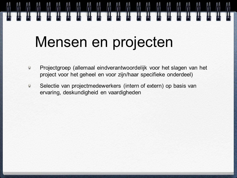 Mensen en projecten Projectgroep (allemaal eindverantwoordelijk voor het slagen van het project voor het geheel en voor zijn/haar specifieke onderdeel