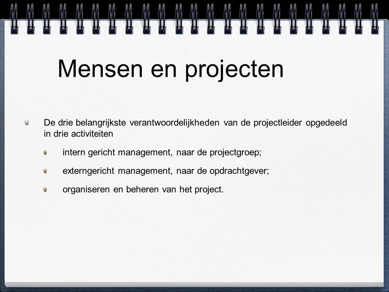 Mensen en projecten De drie belangrijkste verantwoordelijkheden van de projectleider opgedeeld in drie activiteiten intern gericht management, naar de projectgroep; externgericht management, naar de opdrachtgever; organiseren en beheren van het project.