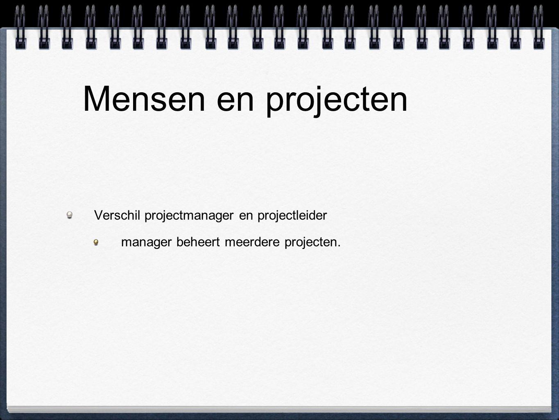Mensen en projecten Verschil projectmanager en projectleider manager beheert meerdere projecten.
