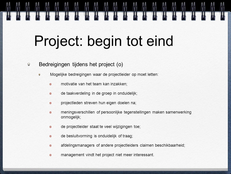 Project: begin tot eind Bedreigingen tijdens het project (o) Mogelijke bedreigingen waar de projectleider op moet letten: motivatie van het team kan i