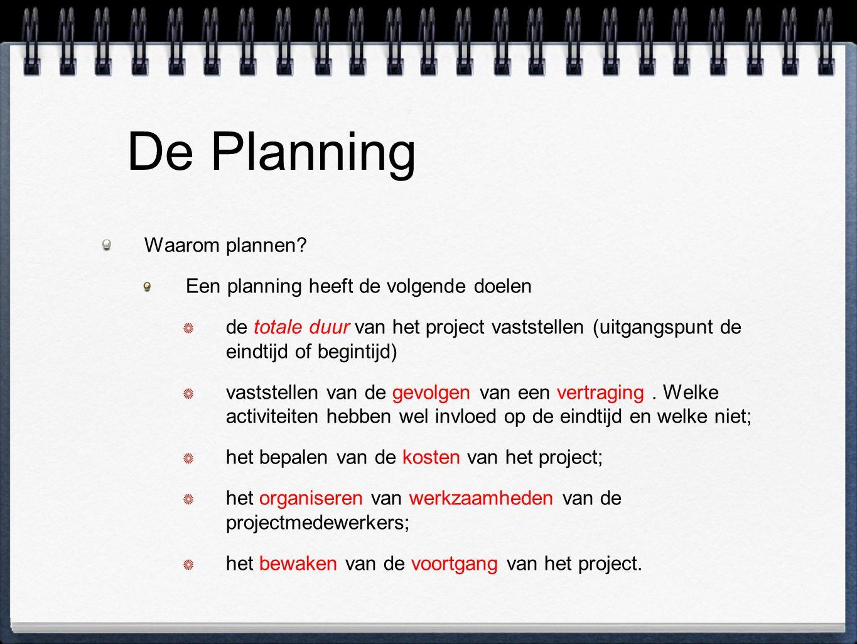 De Planning Waarom plannen? Een planning heeft de volgende doelen de totale duur van het project vaststellen (uitgangspunt de eindtijd of begintijd) v