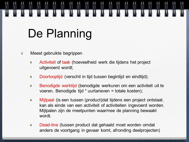 De Planning Meest gebruikte begrippen Activiteit of taak (hoeveelheid werk die tijdens het project uitgevoerd wordt; Doorlooptijd (verschil in tijd tu