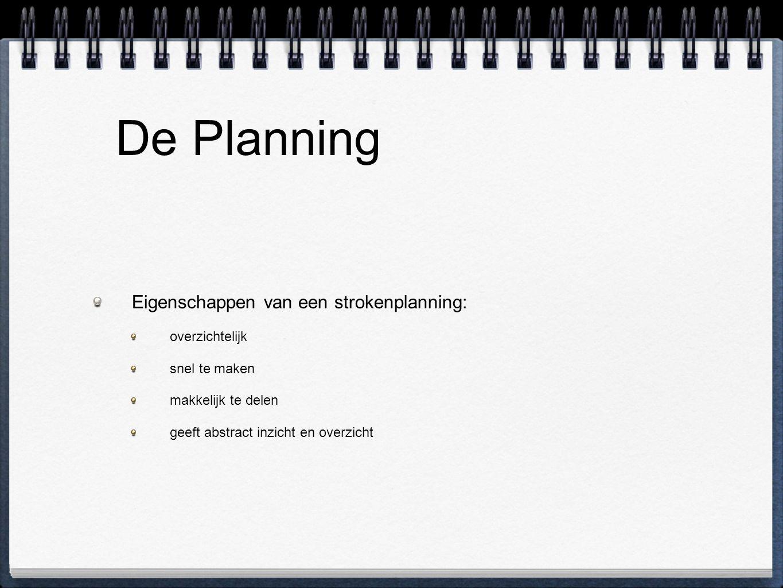 De Planning Eigenschappen van een strokenplanning: overzichtelijk snel te maken makkelijk te delen geeft abstract inzicht en overzicht