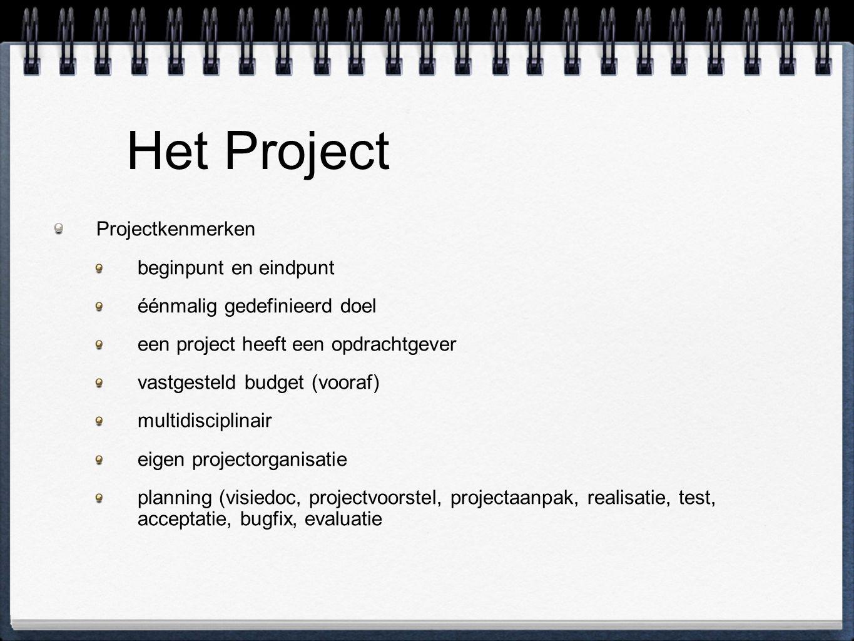 Het Project Projectkenmerken beginpunt en eindpunt éénmalig gedefinieerd doel een project heeft een opdrachtgever vastgesteld budget (vooraf) multidis