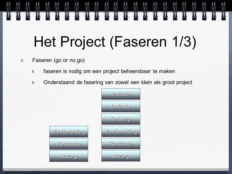 Het Project (Faseren 1/3) Faseren (go or no go) faseren is nodig om een project beheersbaar te maken Onderstaand de fasering van zowel een klein als g