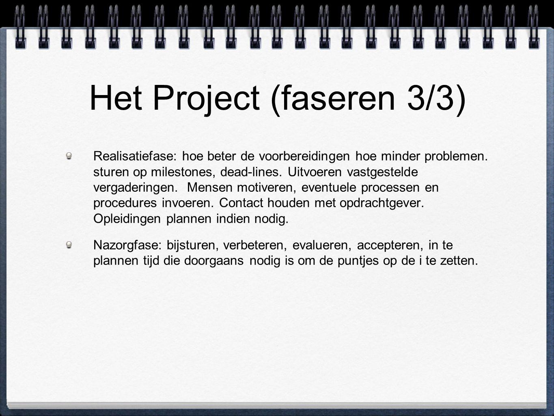 Het Project (faseren 3/3) Realisatiefase: hoe beter de voorbereidingen hoe minder problemen. sturen op milestones, dead-lines. Uitvoeren vastgestelde