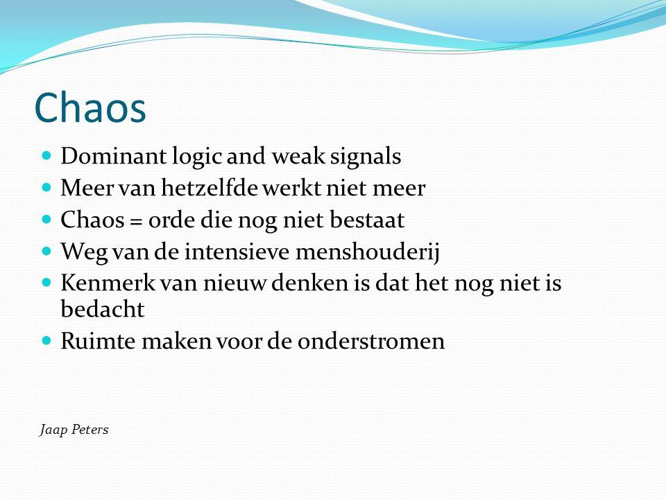 Chaos Dominant logic and weak signals Meer van hetzelfde werkt niet meer Chaos = orde die nog niet bestaat Weg van de intensieve menshouderij Kenmerk