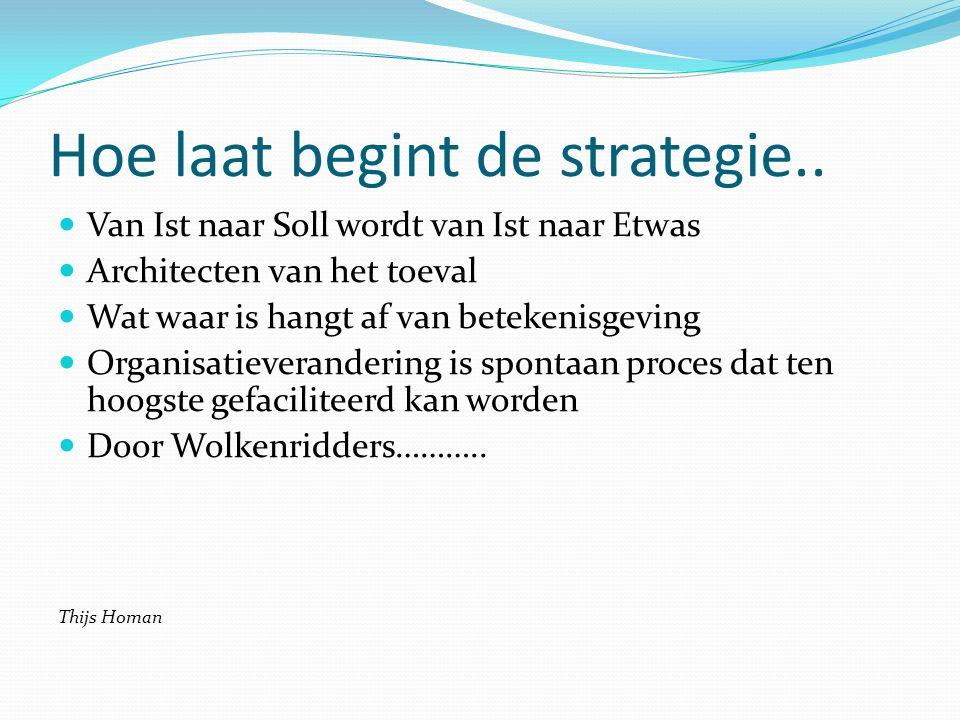 Hoe laat begint de strategie.. Van Ist naar Soll wordt van Ist naar Etwas Architecten van het toeval Wat waar is hangt af van betekenisgeving Organisa