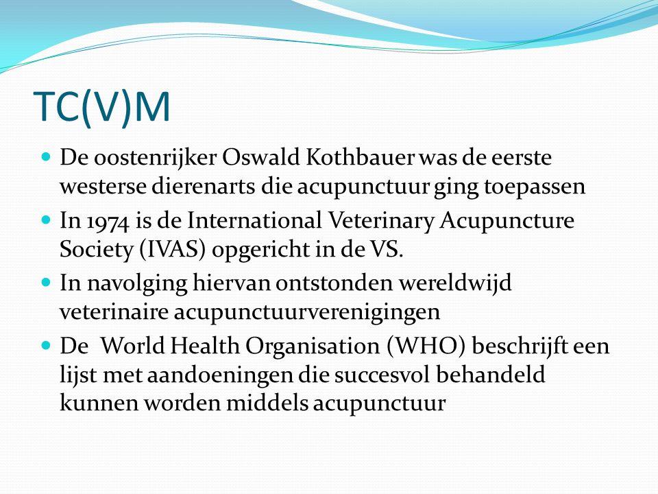 TC(V)M De oostenrijker Oswald Kothbauer was de eerste westerse dierenarts die acupunctuur ging toepassen In 1974 is de International Veterinary Acupuncture Society (IVAS) opgericht in de VS.