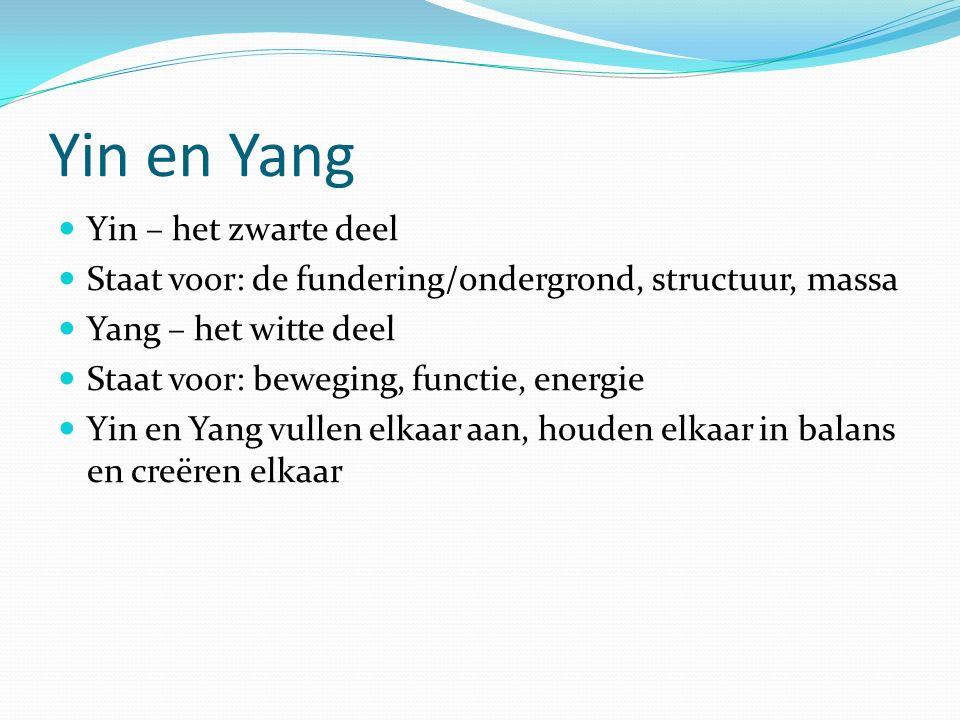 Yin en Yang Yin – het zwarte deel Staat voor: de fundering/ondergrond, structuur, massa Yang – het witte deel Staat voor: beweging, functie, energie Yin en Yang vullen elkaar aan, houden elkaar in balans en creëren elkaar