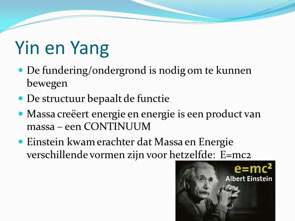 Yin en Yang De fundering/ondergrond is nodig om te kunnen bewegen De structuur bepaalt de functie Massa creëert energie en energie is een product van massa – een CONTINUUM Einstein kwam erachter dat Massa en Energie verschillende vormen zijn voor hetzelfde: E=mc2