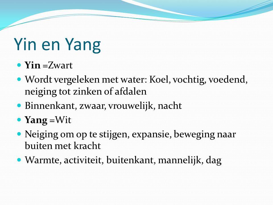 Yin en Yang Yin =Zwart Wordt vergeleken met water: Koel, vochtig, voedend, neiging tot zinken of afdalen Binnenkant, zwaar, vrouwelijk, nacht Yang =Wit Neiging om op te stijgen, expansie, beweging naar buiten met kracht Warmte, activiteit, buitenkant, mannelijk, dag