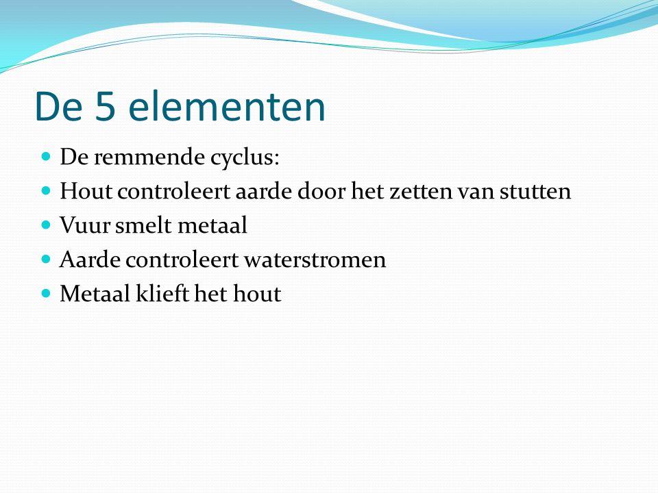 De 5 elementen De remmende cyclus: Hout controleert aarde door het zetten van stutten Vuur smelt metaal Aarde controleert waterstromen Metaal klieft het hout