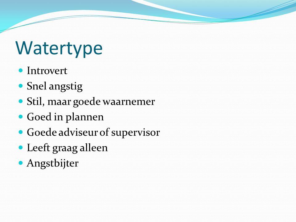 Watertype Introvert Snel angstig Stil, maar goede waarnemer Goed in plannen Goede adviseur of supervisor Leeft graag alleen Angstbijter