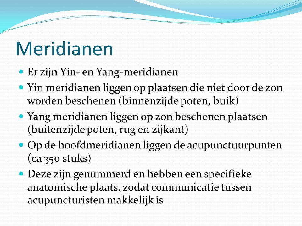 Er zijn Yin- en Yang-meridianen Yin meridianen liggen op plaatsen die niet door de zon worden beschenen (binnenzijde poten, buik) Yang meridianen liggen op zon beschenen plaatsen (buitenzijde poten, rug en zijkant) Op de hoofdmeridianen liggen de acupunctuurpunten (ca 350 stuks) Deze zijn genummerd en hebben een specifieke anatomische plaats, zodat communicatie tussen acupuncturisten makkelijk is