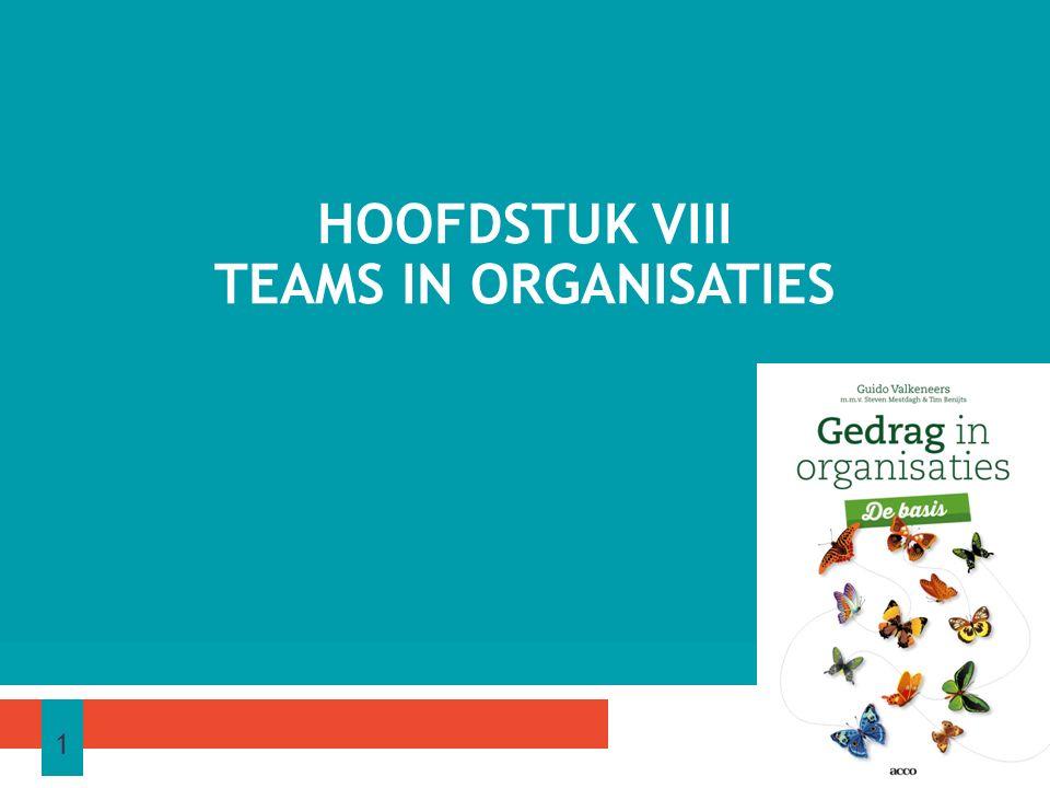 Na de studie van dit hoofdstuk ben je in staat: − een omschrijving te geven van het begrip team − een bespreking te geven van de diverse typen teams − een kritiek te formuleren op deze indeling in teams − een vergelijking te maken tussen de eigenschappen van een team en een werkgroep; DOELSTELLINGEN 1 22