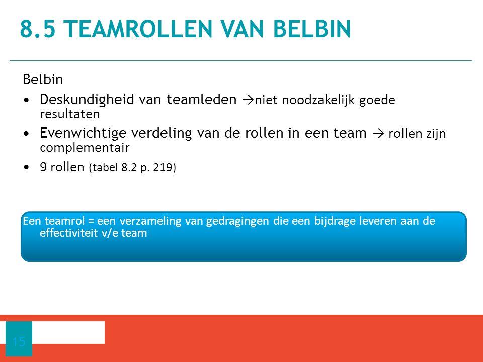 Belbin Deskundigheid van teamleden →niet noodzakelijk goede resultaten Evenwichtige verdeling van de rollen in een team → rollen zijn complementair 9 rollen (tabel 8.2 p.