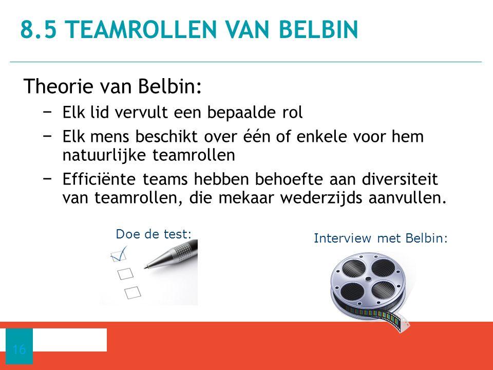 Theorie van Belbin: − Elk lid vervult een bepaalde rol − Elk mens beschikt over één of enkele voor hem natuurlijke teamrollen − Efficiënte teams hebben behoefte aan diversiteit van teamrollen, die mekaar wederzijds aanvullen.