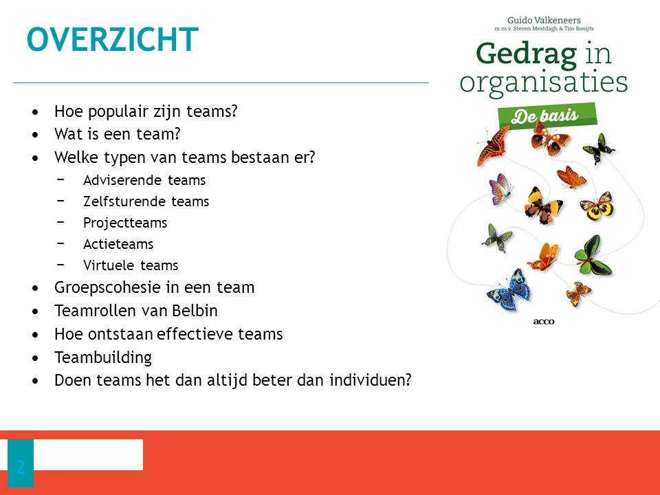 Na de studie van dit hoofdstuk ben je in staat: − de samenhang tussen groepscohesie en productiviteit te bespreken − de teamrollen van Belbin van commentaar te voorzien − te omschrijven wanneer we van een effectief team spreken − enkele elementen te bespreken die een rol spelen om een effectief te ontwikkelen − de mogelijkheden en beperkingen van teambuilding aan te geven.