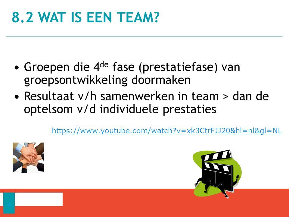 Groepen die 4 de fase (prestatiefase) van groepsontwikkeling doormaken Resultaat v/h samenwerken in team > dan de optelsom v/d individuele prestaties 8.2 WAT IS EEN TEAM.