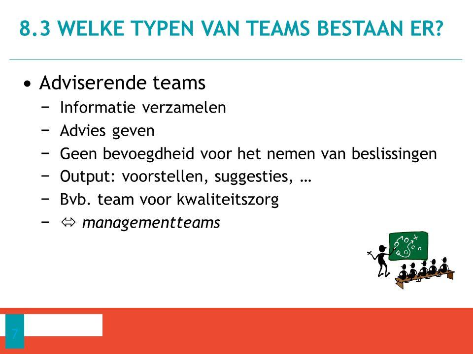 Adviserende teams − Informatie verzamelen − Advies geven − Geen bevoegdheid voor het nemen van beslissingen − Output: voorstellen, suggesties, … − Bvb.