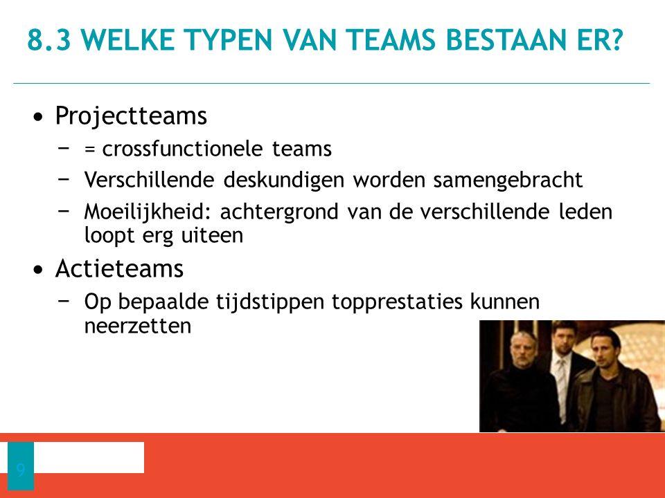 Projectteams − = crossfunctionele teams − Verschillende deskundigen worden samengebracht − Moeilijkheid: achtergrond van de verschillende leden loopt erg uiteen Actieteams − Op bepaalde tijdstippen topprestaties kunnen neerzetten 8.3 WELKE TYPEN VAN TEAMS BESTAAN ER.