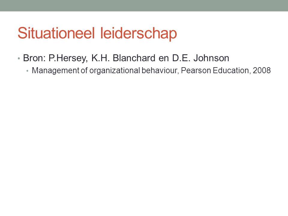 Situationeel leiderschap Bron: P.Hersey, K.H. Blanchard en D.E. Johnson Management of organizational behaviour, Pearson Education, 2008