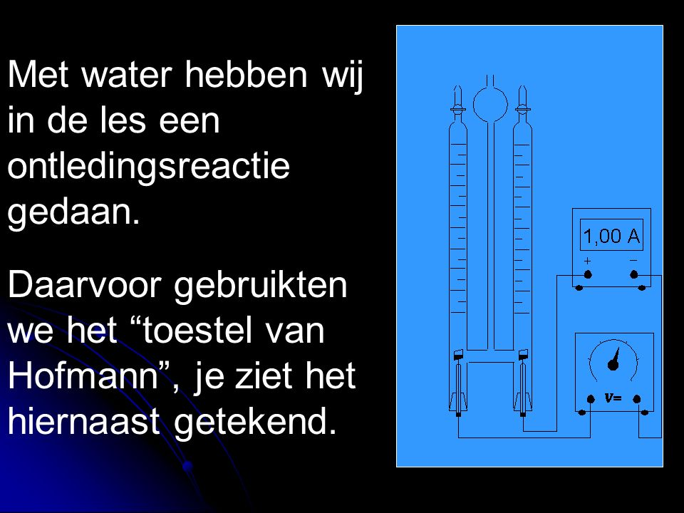 """Met water hebben wij in de les een ontledingsreactie gedaan. Daarvoor gebruikten we het """"toestel van Hofmann"""", je ziet het hiernaast getekend."""