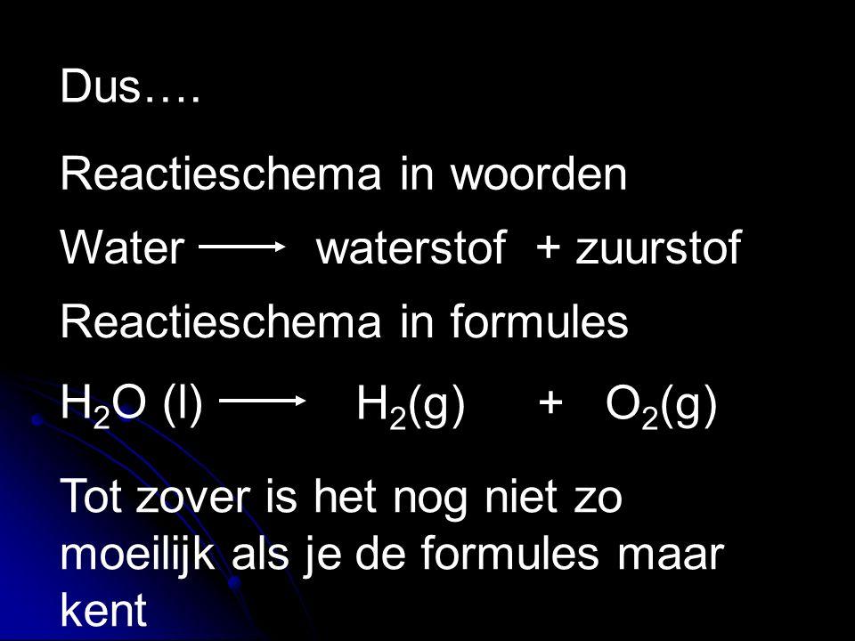 Dus…. Reactieschema in woorden Waterwaterstof + zuurstof H 2 O (l) H 2 (g)+ O 2 (g) Tot zover is het nog niet zo moeilijk als je de formules maar kent