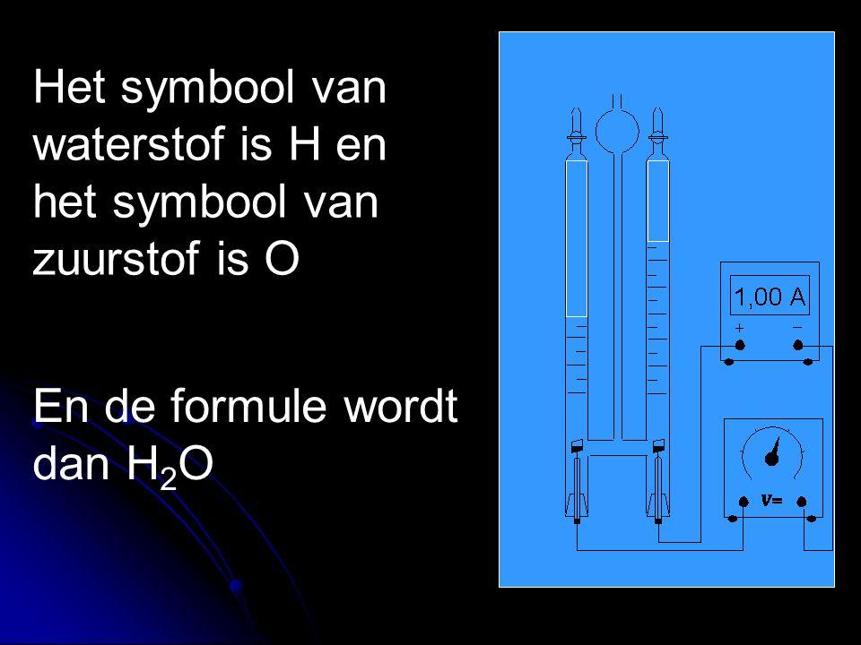 Het symbool van waterstof is H en het symbool van zuurstof is O En de formule wordt dan H 2 O