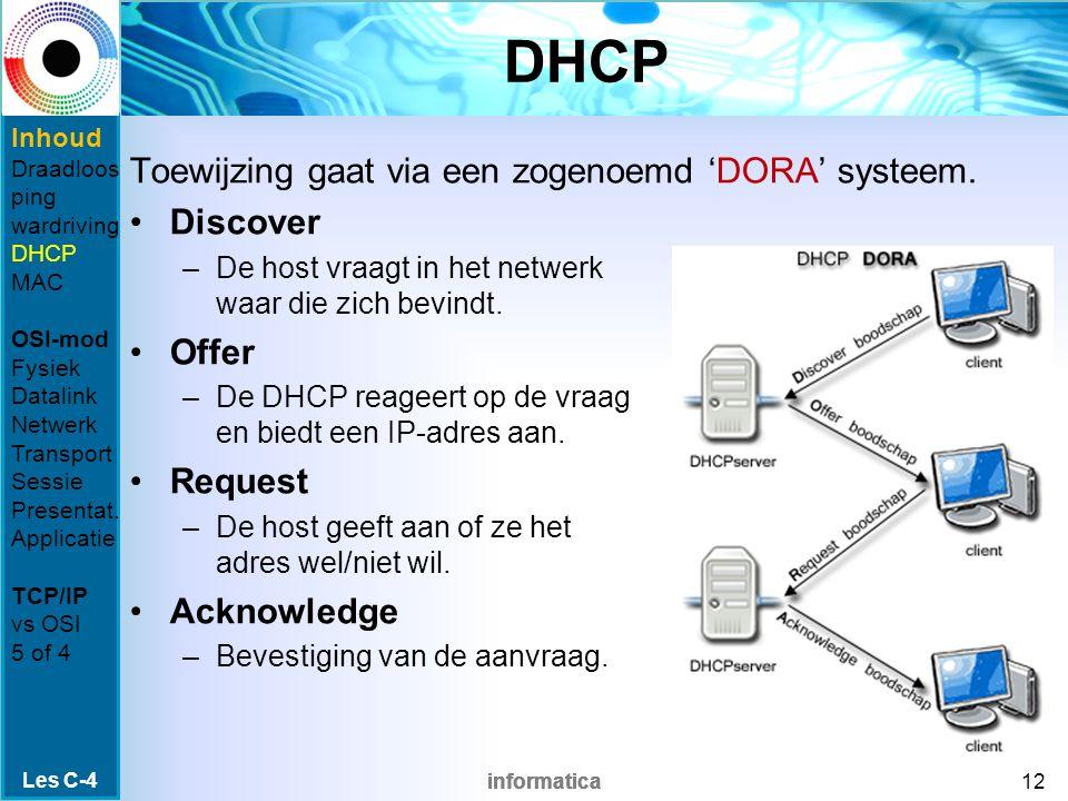 informatica DHCP Toewijzing gaat via een zogenoemd 'DORA' systeem.