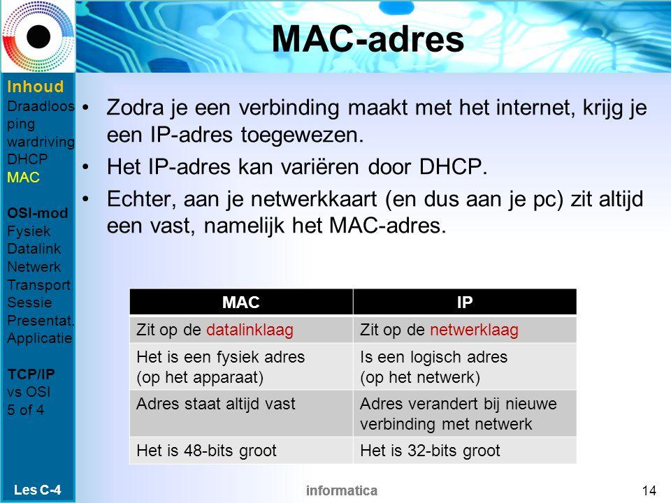 informatica MAC-adres Zodra je een verbinding maakt met het internet, krijg je een IP-adres toegewezen.