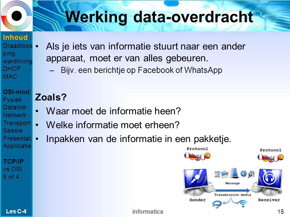 informatica Werking data-overdracht Als je iets van informatie stuurt naar een ander apparaat, moet er van alles gebeuren.