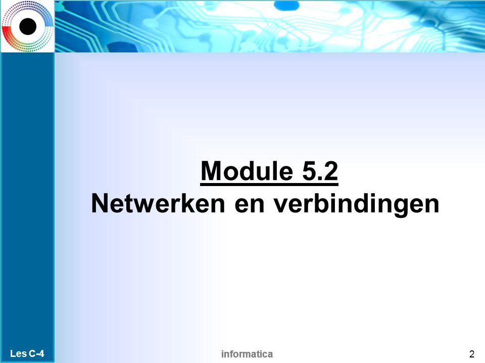 informatica Module 5.2 Netwerken en verbindingen 2 Les C-4