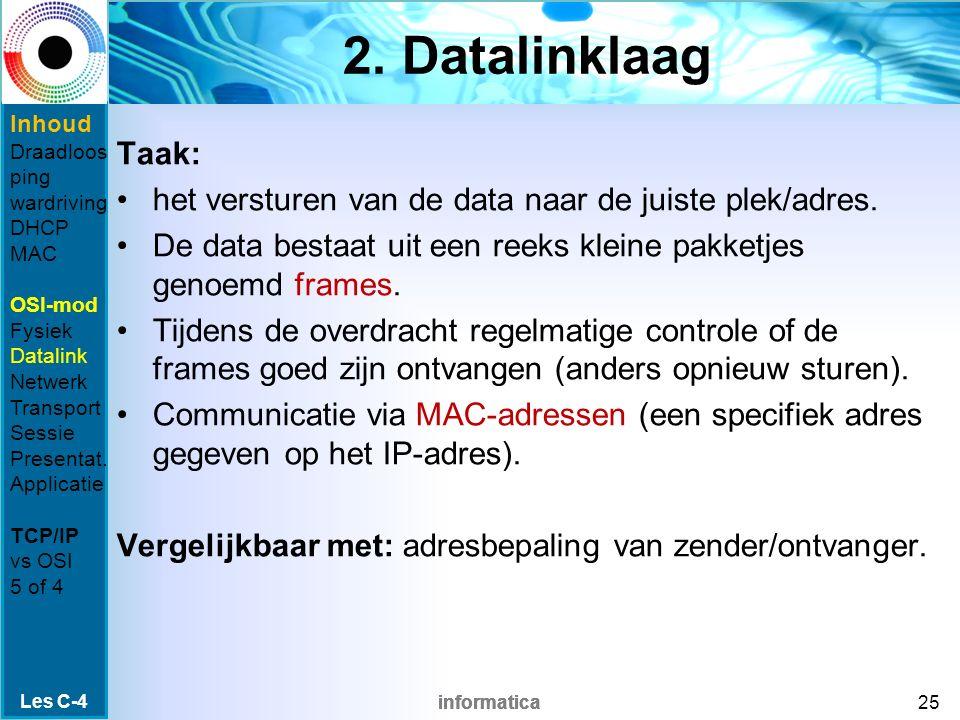 informatica 2. Datalinklaag Taak: het versturen van de data naar de juiste plek/adres.