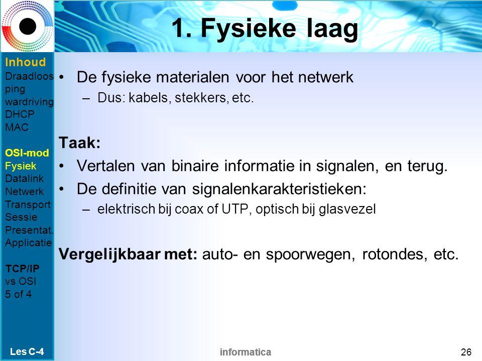informatica 1. Fysieke laag De fysieke materialen voor het netwerk –Dus: kabels, stekkers, etc.