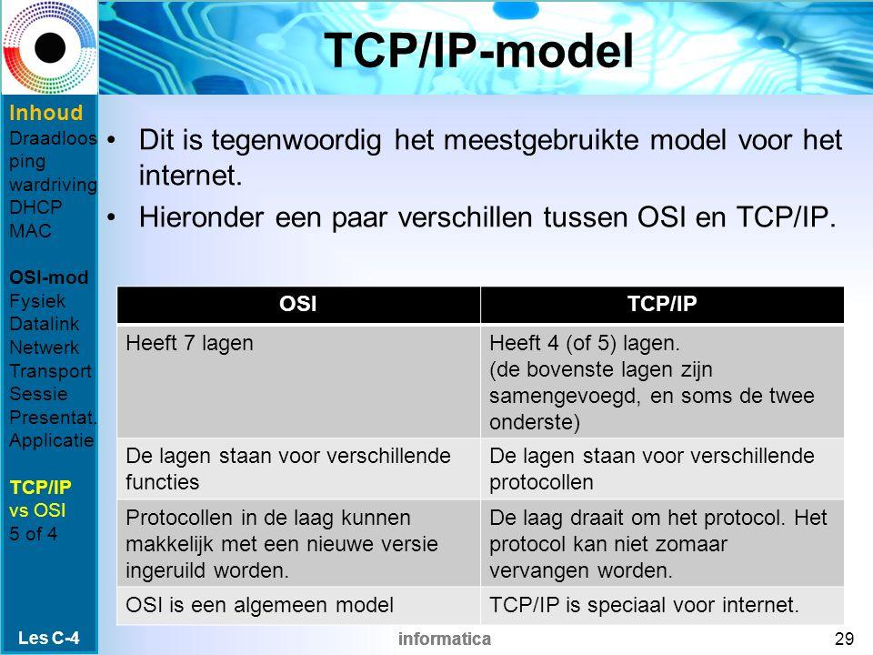 informatica TCP/IP-model Dit is tegenwoordig het meestgebruikte model voor het internet.